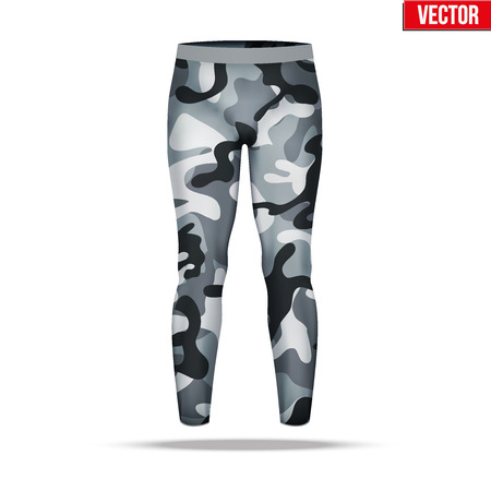 thermal: Base layer underwear compression pants of thermal fabric in urban camouflage style. Sample typical technical illustration.  Vector Illustration isolated on white background