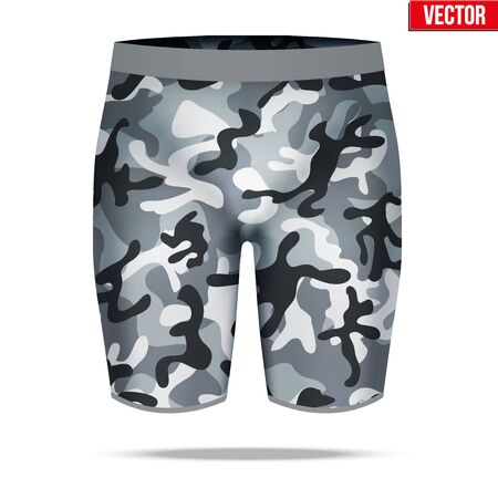 compression: Base layer underwear compression shorts of thermal fabric in urban camouflage style. Sample typical technical illustration.  Vector Illustration isolated on white background