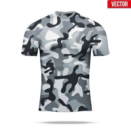 layer style: Base layer underwear compression t-shirt of thermal fabric  in urban camouflage style. Sample typical technical illustration.  Vector Illustration isolated on white background