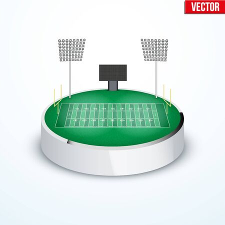 tabletop: Concept of miniature round tabletop American football stadium. In three-dimensional space. Vector illustration isolated on background. Illustration