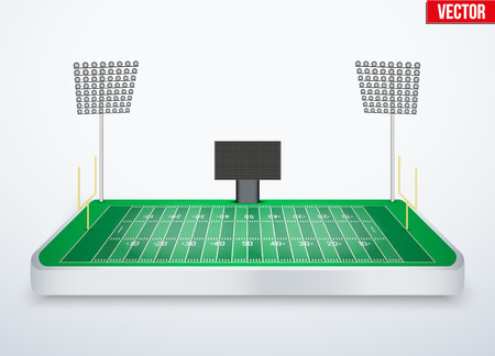 tabletop: Concept of miniature tabletop American football soccer stadium. In three-dimensional space. Vector illustration isolated on background.