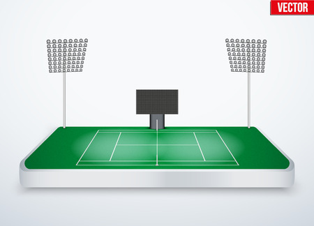 tabletop: Concept of miniature tabletop Tennis court. In three-dimensional space. Vector illustration isolated on background.