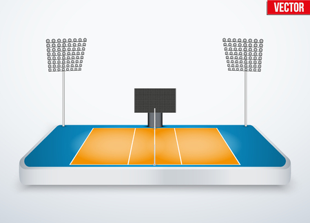 tabletop: Concept of miniature tabletop volleyball arena. In three-dimensional space. Vector illustration isolated on background.