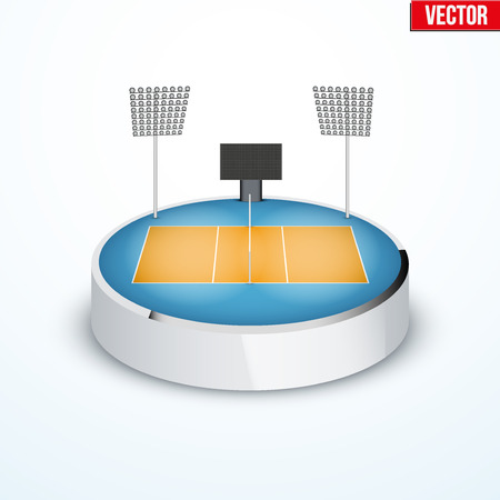 tabletop: Concept of miniature round tabletop volleyball arena. In three-dimensional space. Vector illustration isolated on background.