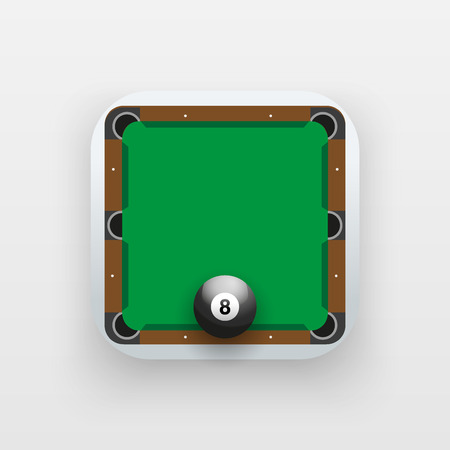 sporting: Square icon of billiard sport. Sporting field and ball. Vector Illustration isolated on background.