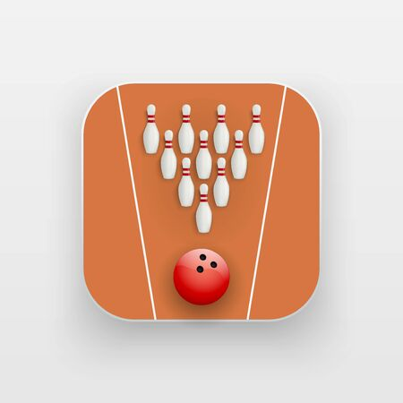 alley: Square icon of bowling alley sport. Sporting field and ball. Vector Illustration isolated on background.