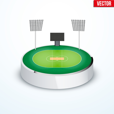 tabletop: Concept of miniature round tabletop cricket stadium. In three-dimensional space. Vector illustration isolated on background.