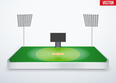 miniature: Concept of miniature tabletop cricket stadium. In three-dimensional space. Vector illustration isolated on background. Illustration