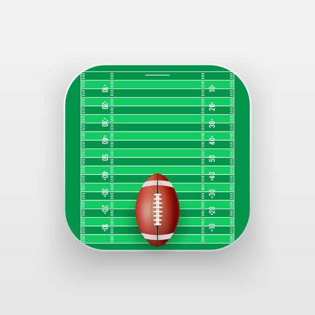 american downloads: Square icon of American Football sport. Sporting field and ball. Vector Illustration isolated on background.