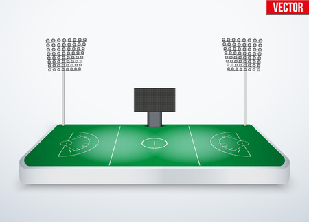 tabletop: Concept of miniature tabletop lacrosse stadium. In three-dimensional space. Vector illustration isolated on background. Illustration