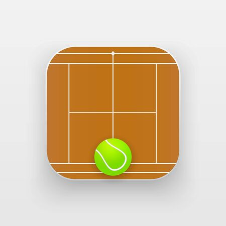 sporting: Square icon of tennis sport. Sporting court and ball. Vector Illustration isolated on background. Illustration