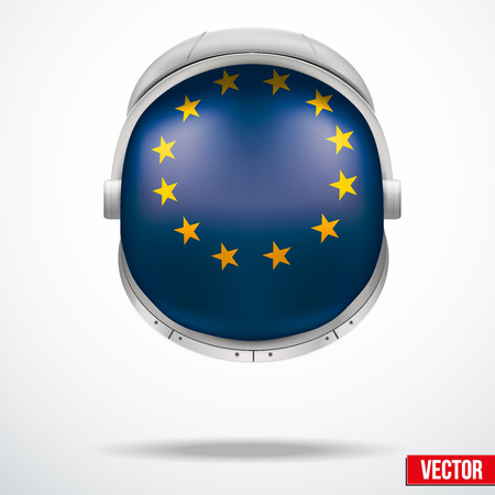 visor: Astronaut helmet with big glass with flag Europe Union reflecting on visor glass. Vector Illustration Isolated on White Background