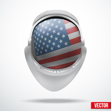 visor: Astronaut helmet with big glass with flag USA reflecting on visor glass. Vector Illustration Isolated on White Background