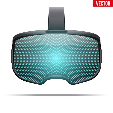 visualisation: Original stereoscopic 3d vr headset with visualisation on surface. Front view. Vector illustration Isolated on white background.