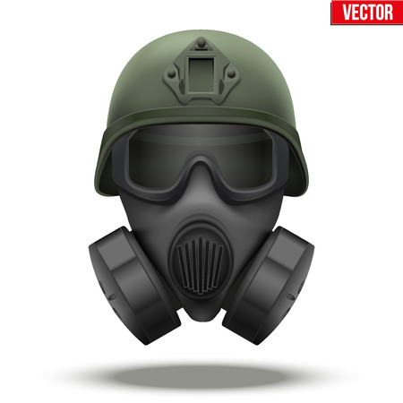 Military tactical helmet of rapid reaction with gas mask. Green color. Army and police symbol of defense. Editable illustration Isolated on white background.