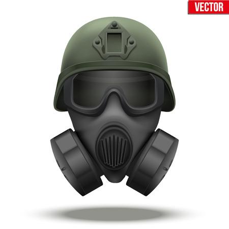 Casque tactique militaire de réaction rapide avec masque à gaz. Couleur verte. Symbole de la défense de l'armée et de la police. Illustration éditable Isolé sur fond blanc.