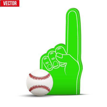 sports fan: Symbol of Baseball Sports Fan Foam Fingers and ball. Illustration Isolated on white background.
