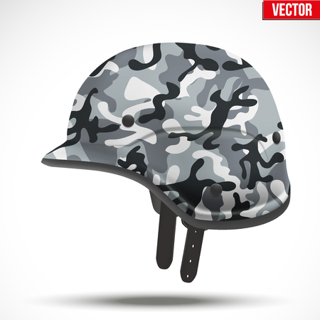 green plastic soldiers: Military modern camouflage helmet. Side view. Army symbol of defense. Illustration Isolated on white background. Illustration