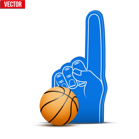 sports fan: Symbol of Basketball Sports Fan Foam Fingers and ball. Illustration Isolated on white background.