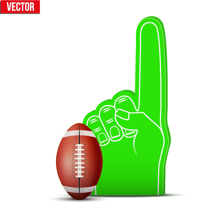 sports fan: Symbol of American football Sports Fan Foam Fingers and ball. Illustration Isolated on white background. Illustration