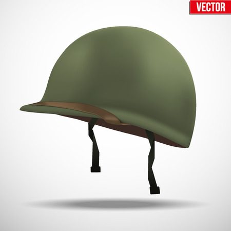 Military US green helmet infantry of WWII. Side view. Metallic army symbol of defense. illustration Isolated on white background.  イラスト・ベクター素材