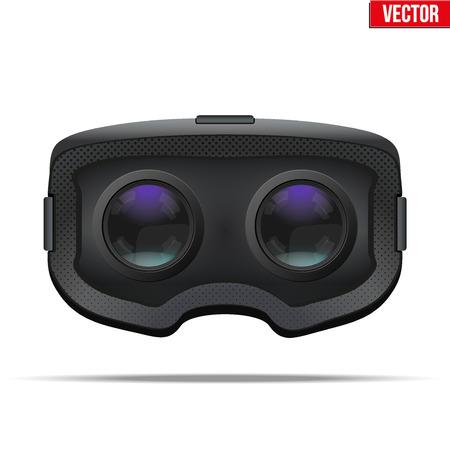 Auricular original de VR 3D estereoscópico. Vista desde el interior. Ilustración sobre fondo blanco.