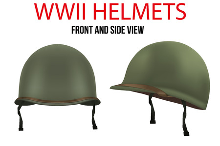 Set of Military US green helmets infantry of WWII. Side and front view. Metallic army symbol of defense. illustration Isolated on white background. Ilustrace
