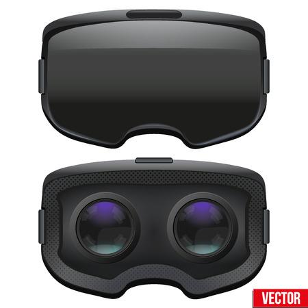 Conjunto de original auricular VR 3D estereoscópico. Vista frontal y el interior. Ilustración sobre fondo blanco. Ilustración de vector