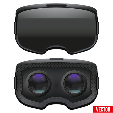 Set of Original stereoscopic 3d vr headset. Front and Inside view. illustration Isolated on white background. Vettoriali