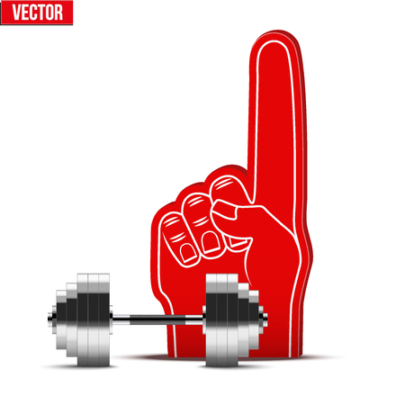 powerlifting: Symbol of Powerlifting and gym Sports Fan Foam Fingers and dumbbell. Vector Illustration Isolated on white background. Illustration