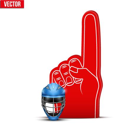sports fan: Symbol of Lacrosse Sports Fan Foam Fingers and helmet. Vector Illustration Isolated on white background.