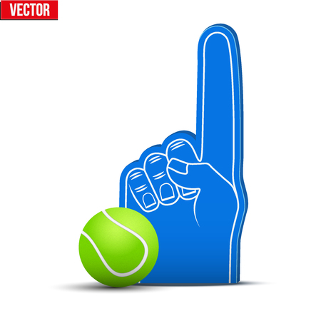 sports fan: Symbol of Tennis Sports Fan Foam Fingers and ball. Vector Illustration Isolated on white background. Illustration