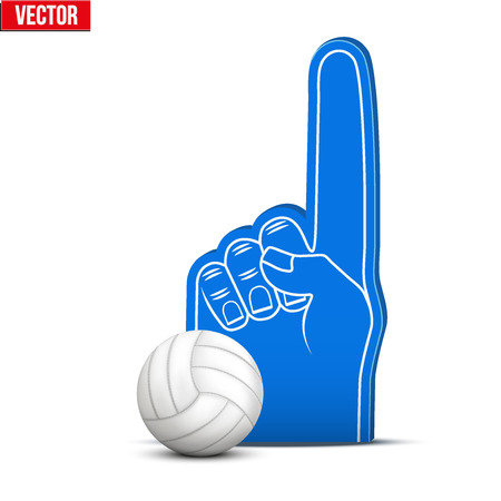 sports fan: Symbol of Volleyball Sports Fan Foam Fingers and ball. Vector Illustration Isolated on white background.