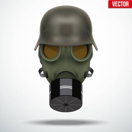 army gas mask: Military german helmet with gas mask. Army symbol WWII. Editable Vector illustration Isolated on white background. Illustration