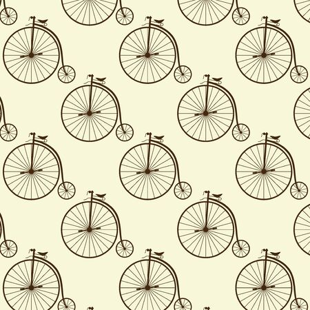 covering: Vintage high wheeler seamless pattern. Stylish retro print for covering or wrapping. Vector Illustration background. Illustration