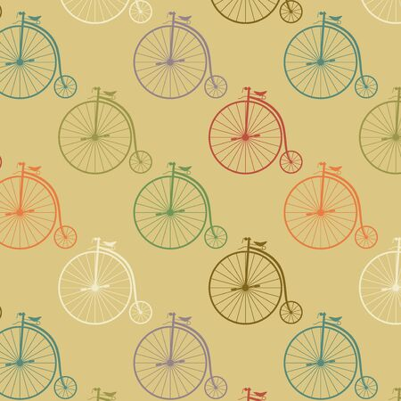 wheeler: Vintage high wheeler seamless pattern. Stylish retro print for covering or wrapping. Vector Illustration background. Illustration