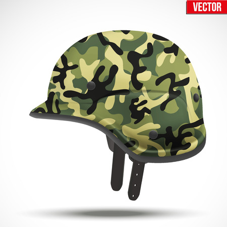 green plastic soldiers: Military modern camouflage helmet. Side view. Army symbol of defense. Vector Illustration Isolated on white background.