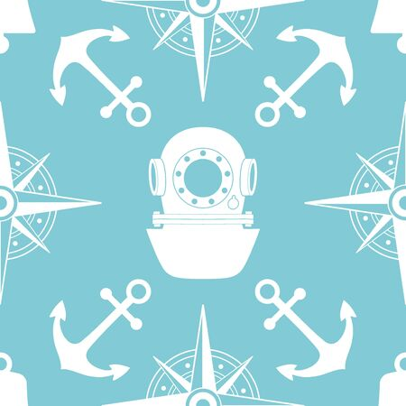 yachting: Vintage nautical seamless pattern. The diving and yachting theme. Stylish retro print for covering or wrapping. Vector Illustration background. Illustration