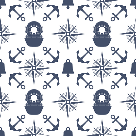 covering: Vintage nautical seamless pattern. The diving and yachting theme. Stylish retro print for covering or wrapping. Vector Illustration background. Illustration