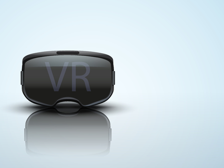 stereoscopic: Background with Original stereoscopic 3d vr headset. Front view. Vector illustration.