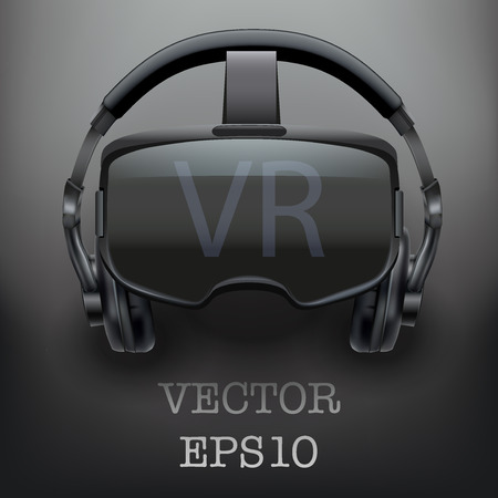 stereoscopic: Background with Original stereoscopic 3d vr headset and headphones. Front view. Vector illustration. Illustration