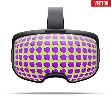 glitch: Original stereoscopic 3d vr headset with glitch visualization on surface. Front view. Vector illustration Isolated on white background. Illustration