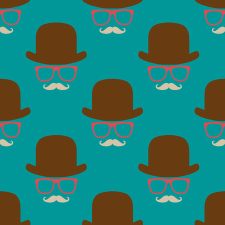 covering: Vintage hipster symbol seamless pattern with hat and glasses. Stylish retro print for covering or wrapping. Vector Illustration background.