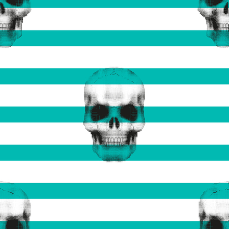 covering: Vintage hipster seamless pattern with skulls. Stylish retro print for covering or wrapping. Vector Illustration background. Illustration