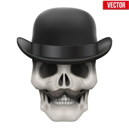 bowler hat: Human skull with black bowler hat. Vector Illustration on isolated white background