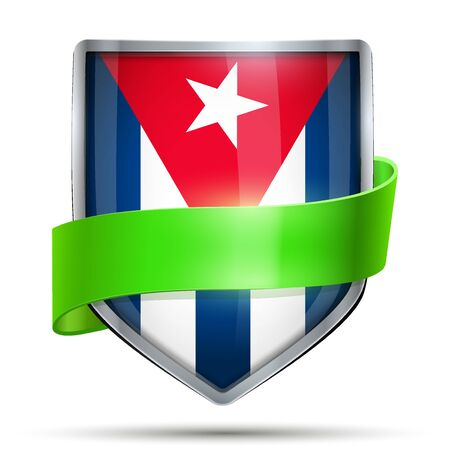 flag of cuba: Shield with flag Cuba and ribbon. Editable Vector Illustration isolated on white background.