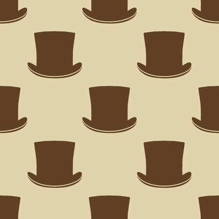 covering: Vintage cylinder hat seamless pattern. Stylish retro print for covering or wrapping. Vector Illustration background. Illustration