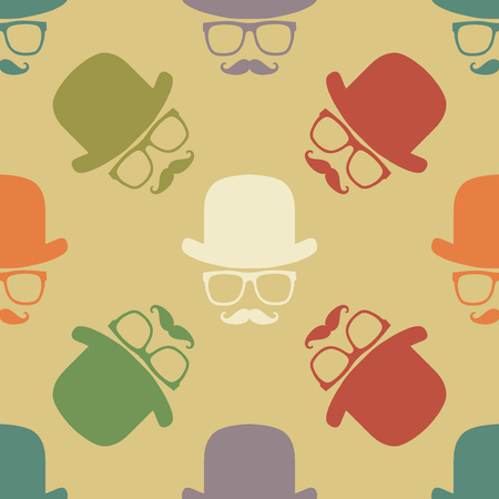 covering: Vintage hipster symbol seamless pattern with hat and mustaches. Stylish retro print for covering or wrapping. Vector Illustration background. Illustration