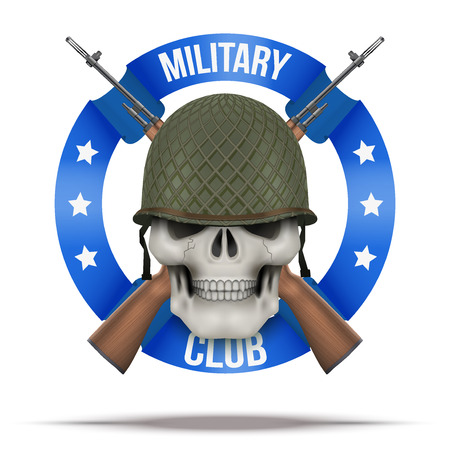 wwii: WWII Military club or company badges and labels. Skull. Vector Illustration isolated on background.