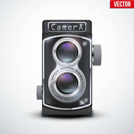 viewfinder vintage: Vintage twin lens reflex camera with closed viewfinder. Front view. Realistic retro design of medium format camera. Vector Illustration isolated on white background. Illustration